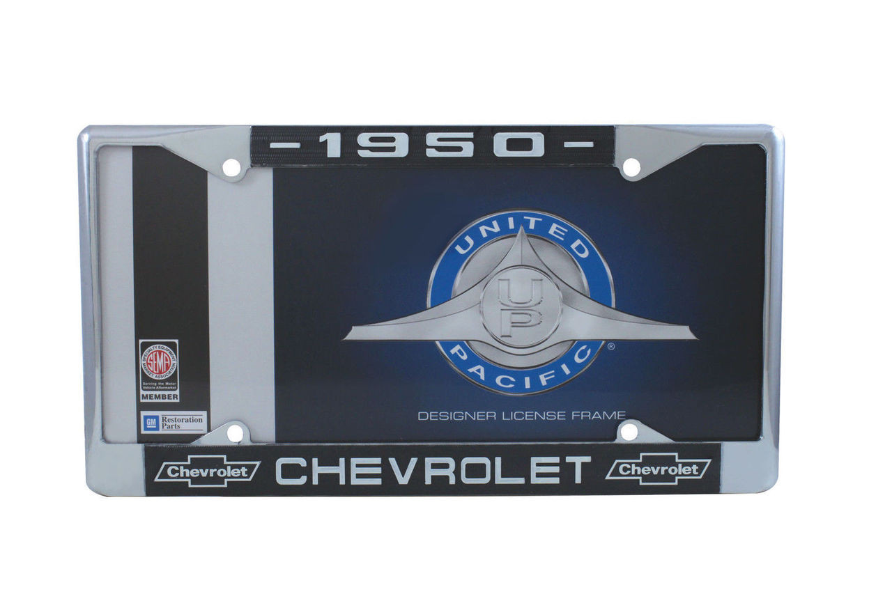 1950 Chevy Chrome License Plate Frame with Bowtie Blue / White Script, Set of 2