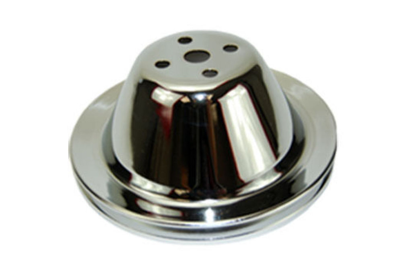 SBC Chevy 283-350 Chrome Steel Smooth SWP Single Groove Water Pump Pulley