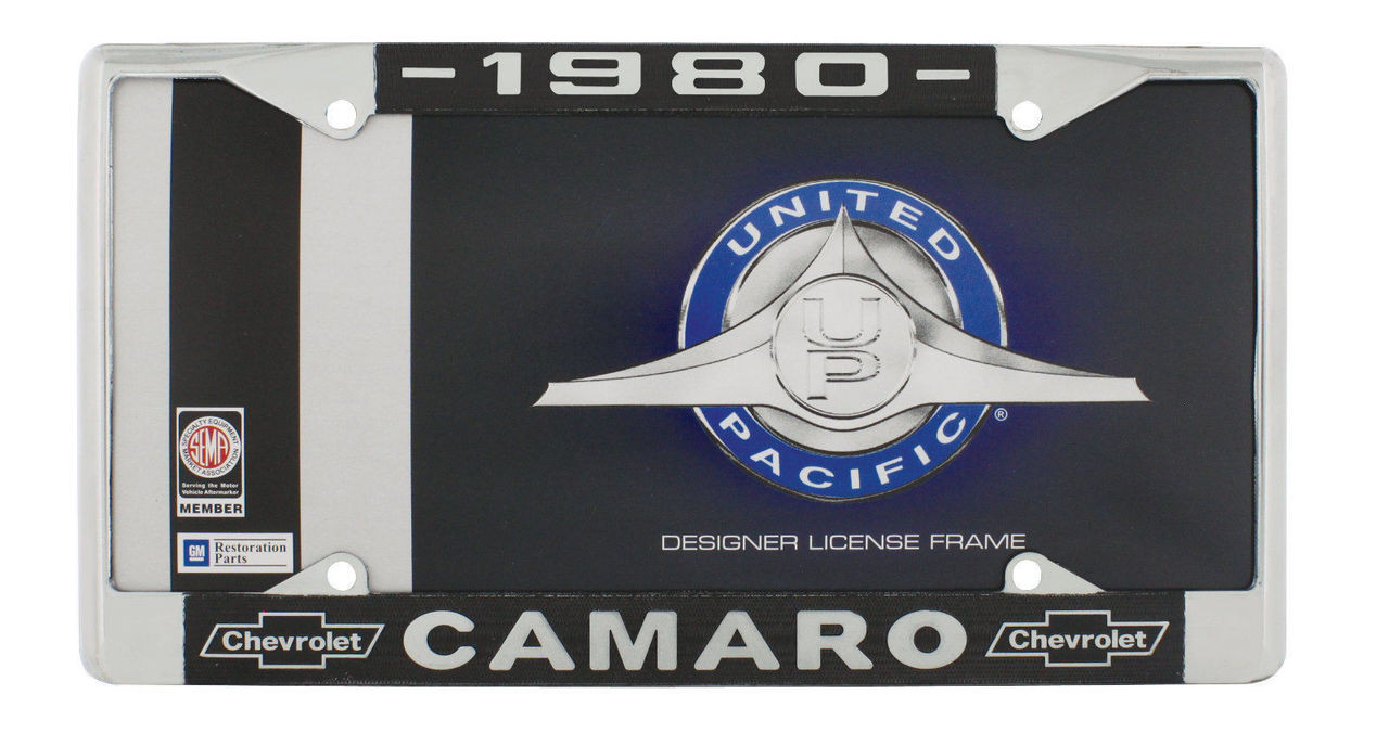 """1980 Chevy """"Camaro"""" Chrome License Plate Frame with Year and Bowtie, Set of 2"""