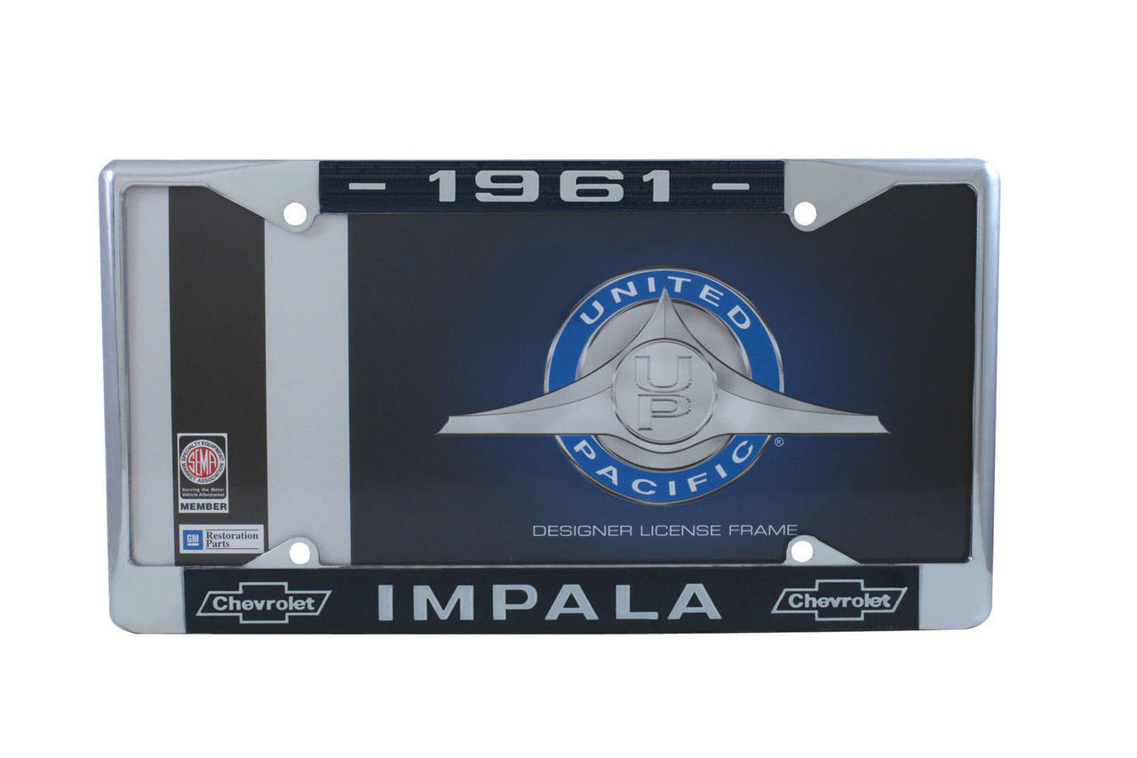 1961 Chevy Impala Chrome License Plate Frame W/ Blue and White Script, Set of 2