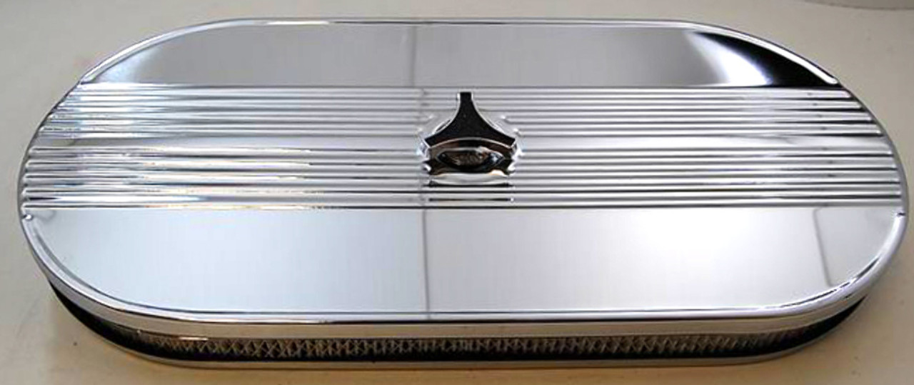 "21"" Chrome Finned Cobra Performance Air Cleaner Dual Carb 1965-1973 Mustang"