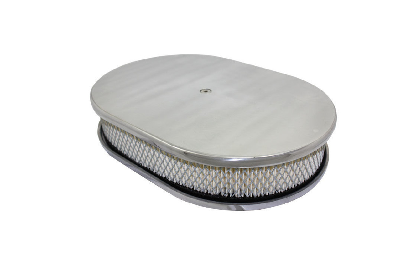 """12"""" Smooth Polished Aluminum Oval Air Cleaner w/ Filter Chevy Ford V8"""