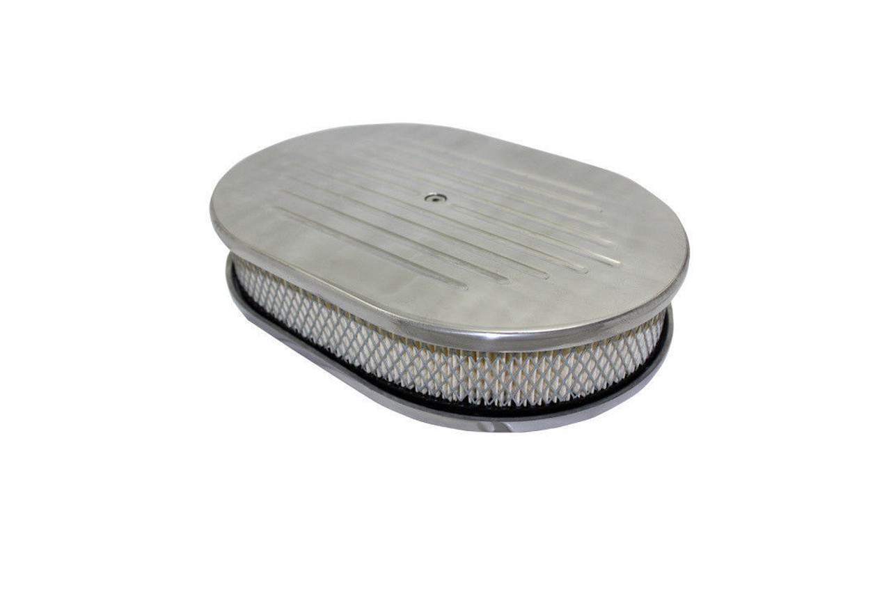 """12"""" Ball Milled Polished Aluminum Oval Air Cleaner w/ Filter Chevy Ford V8"""
