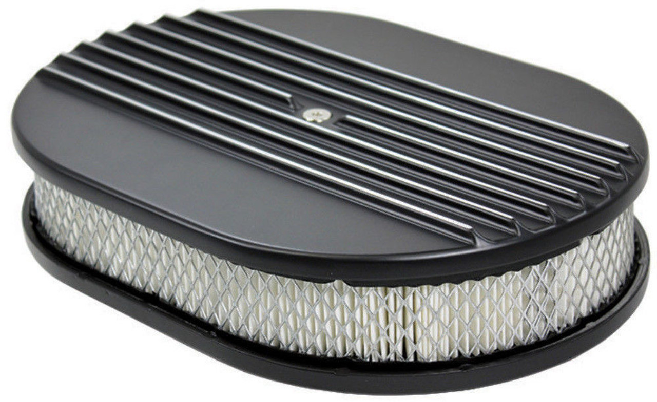 """12"""" Half Finned Black Aluminum Oval Air Cleaner w/ Filter Chevy Ford V8"""