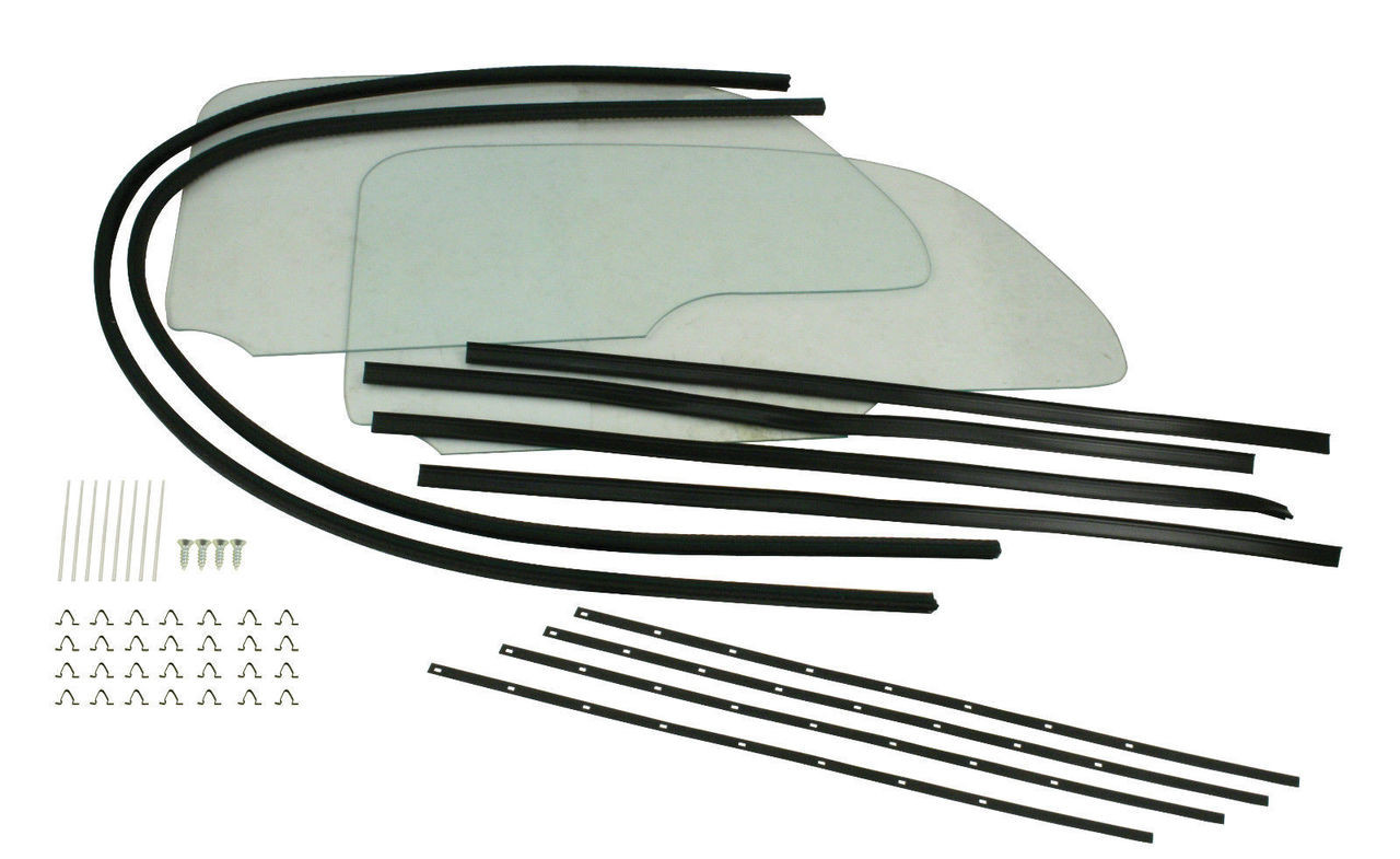 One Piece Window Kit w/ Glue-In Scrapers, Compatible with VW Type 1 1965 & Later