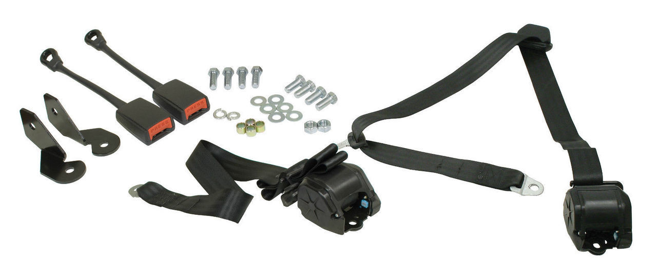 EMPI VW BUG 1968-1979, 3- Point Retractable Seat Belt/Harness, Black, PR   3851