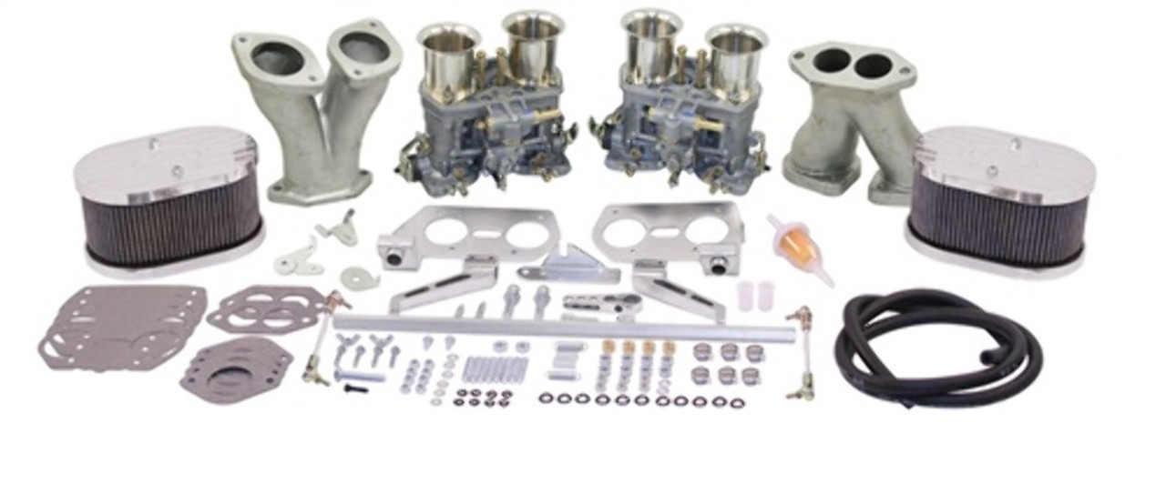 43-9319-0 EMPI DELUXE DUAL WEBER 44IDF KIT, WITH VELOCITY STACKS, TYPE 1