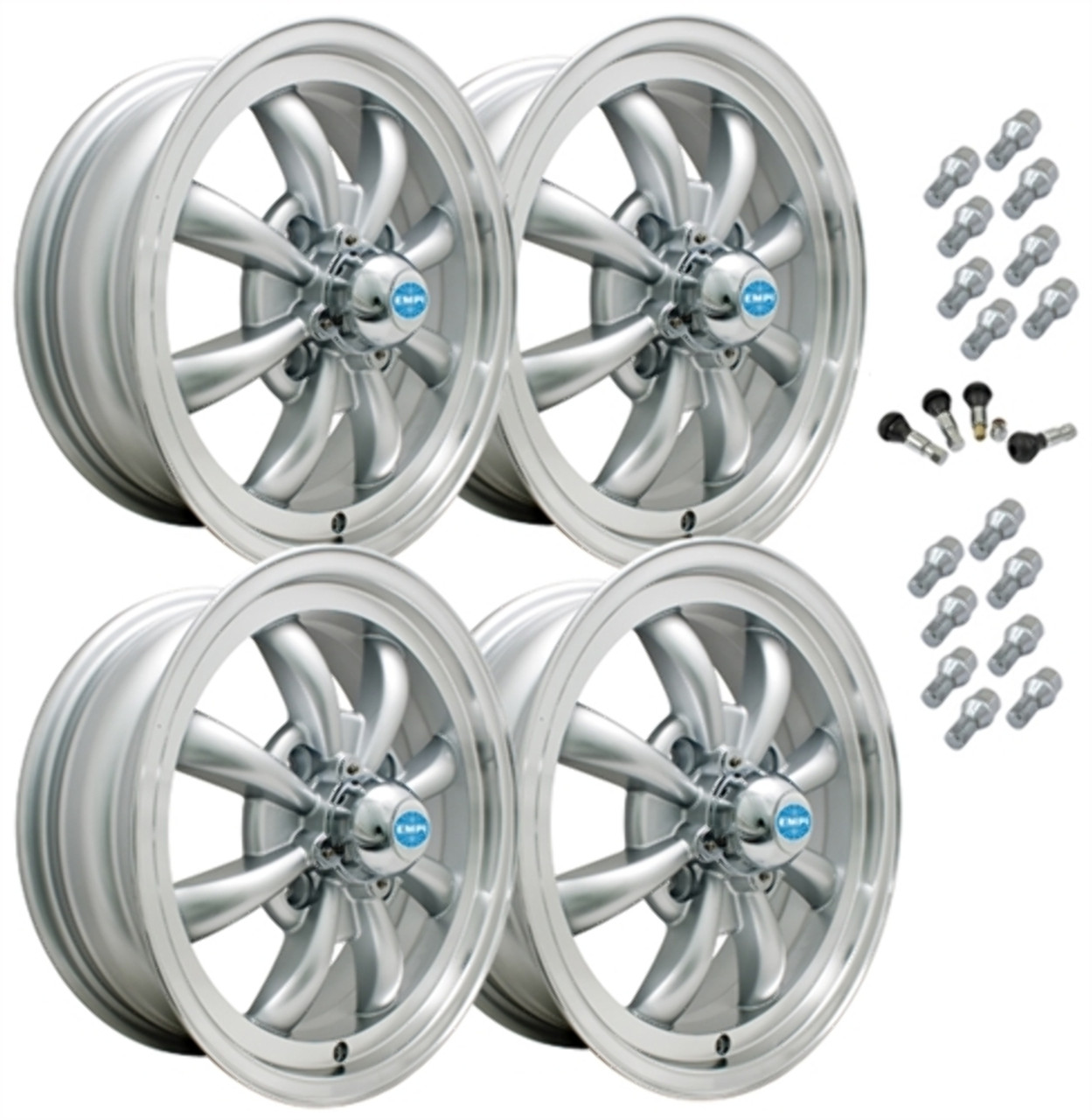 9685 EMPI GT-8 STYLE WHEEL PACKAGE, 4-LUG VW BUG, GHIA, TYPE 3,  4PC SET, SILVER, 15 X 5-1/2, 4 ON 130MM