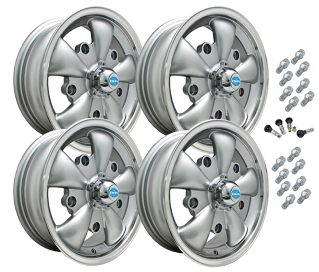 9691 EMPI GT-5 STYLE WHEEL PACKAGE, 5-LUG VW BUG, BUS, GHIA, TYPE 3,  4PC SET, SILVER, 15 X 5-1/2, 5 ON 205MM