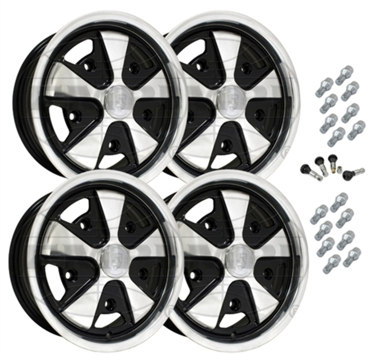 10-1110 EMPI 911 STYLE WHEEL PACKAGE, 5-LUG VW BUG, BUS, GHIA, TYPE 3,  4PC SET, BLACK, 15 X 5-1/2, 5 ON 205MM