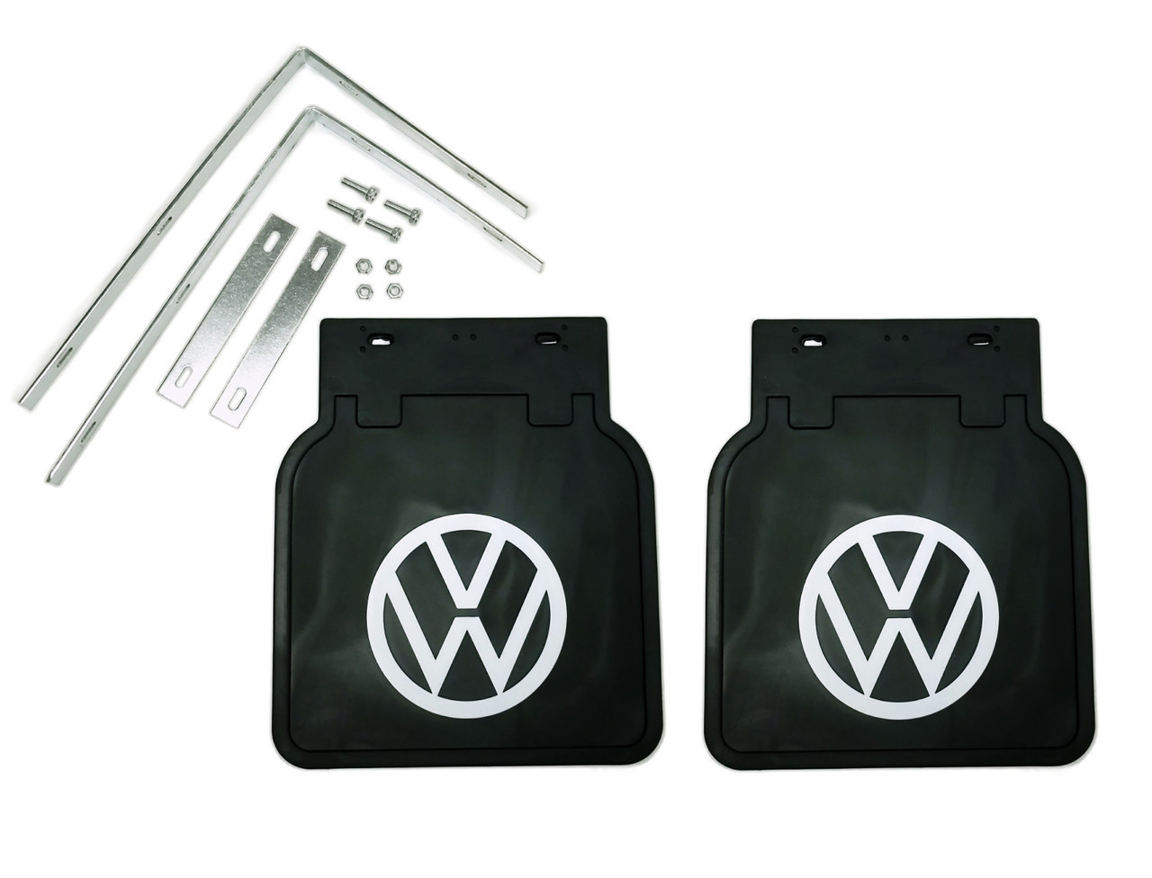Mud Flaps with Brackets, Black, Pair, Fits 1950 and later VW Bug 111821805B