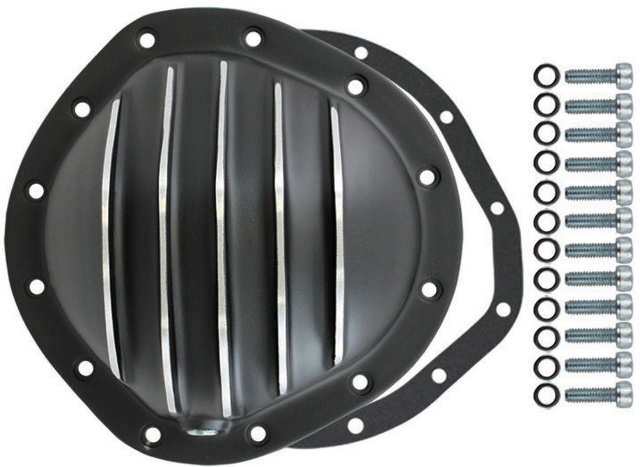 """Differential Cover Rear, Black Aluminum Finned, Fits Chevy/GM 12 Bolt 8.75"""" RG"""