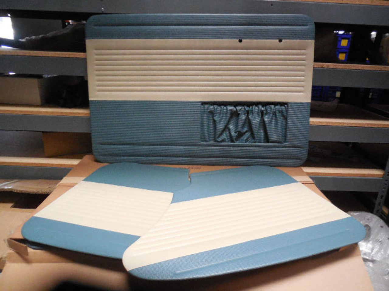 Door Panel Set, TMI OEM Classic Style, Water Blue/Off-White, Fits VW Bug 56-64