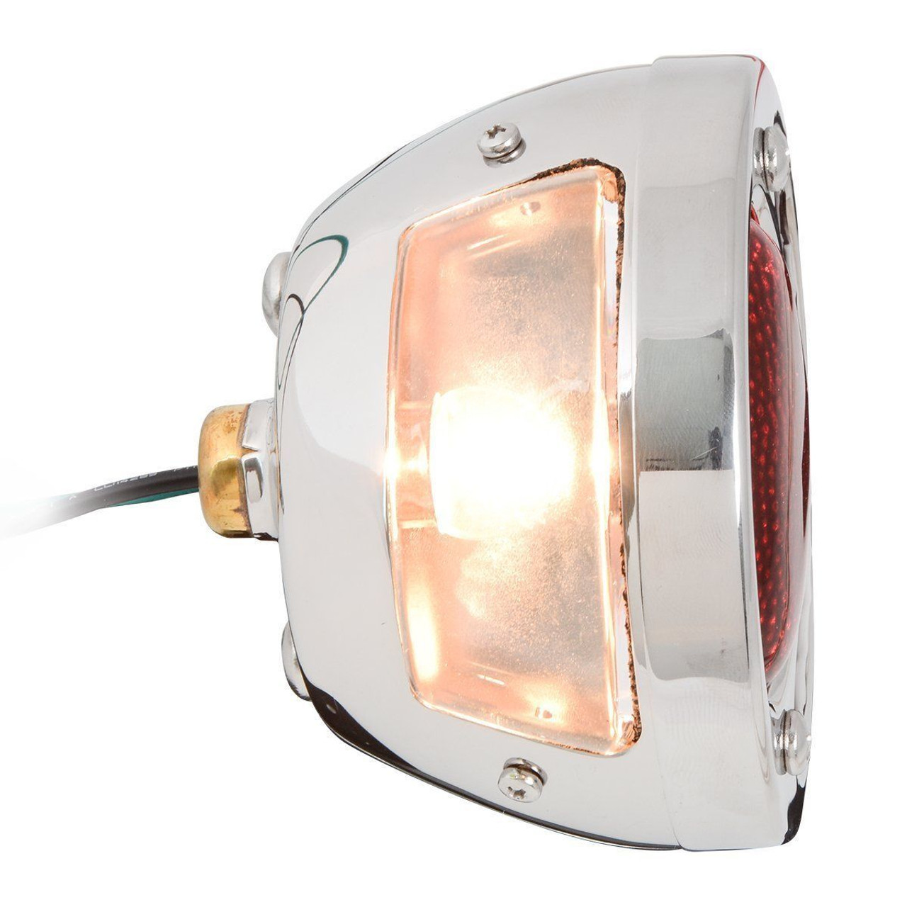 6V Stainless Steel Duolamp Tail Light w/ Amber/Red Glass Lens and License Light