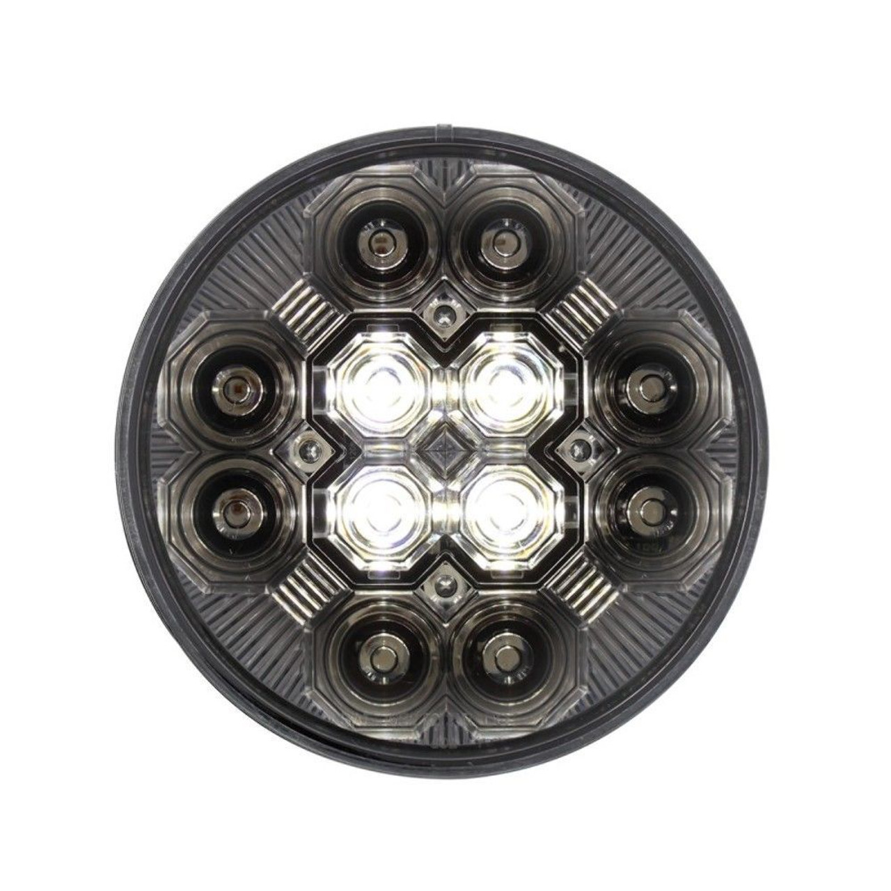 "4"" Round Combo Light with 12 LED S/T/T Light & 16 LED Back-Up Light -Clear Lens"