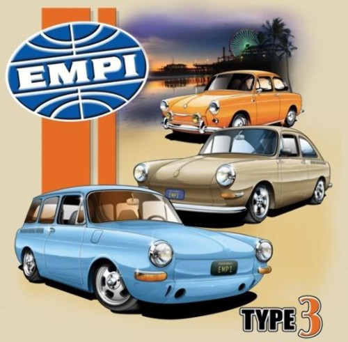 Empi T-Shirt VW Volkswagen  Type 3 100% Cotton Small 15-4074