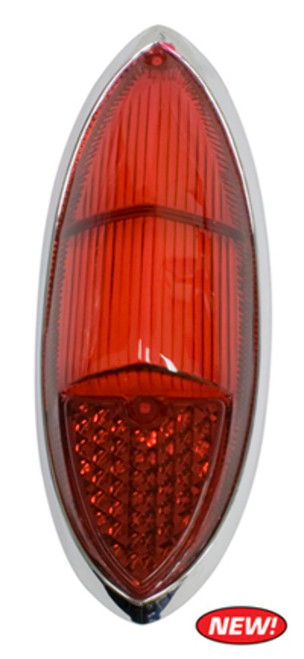 (1) Red Tail Light Lens w/ Chrome Ring, VW Ghia 60-69, EMPI 98-8616 141-945-227D