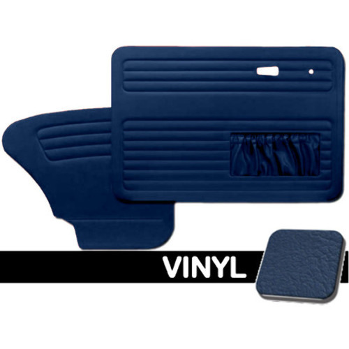 DOOR PANELS FRONT/REAR, 1967-78 VW BUG W/POCKETS BOTH SIDES, BLUE SMOOTH VINYL