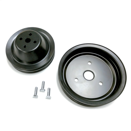 2 Groove Black Steel Pulley Kit, SBC V8 Short Water Pump
