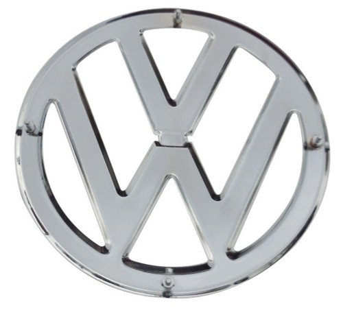 """FRONT EMBLEM, CHROME, 1950-67 TYPE 2 BUS, WITH CLIPS, 317MM (12.5"""") 211-853-601A"""