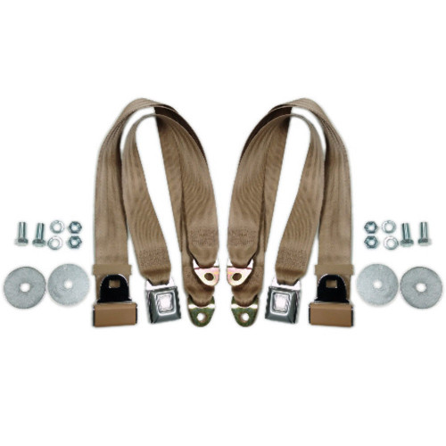 "Tan Universal 72"" Lap Seat Belt w/ Hardware Hot Street Rod Muscle Classic, Pair"