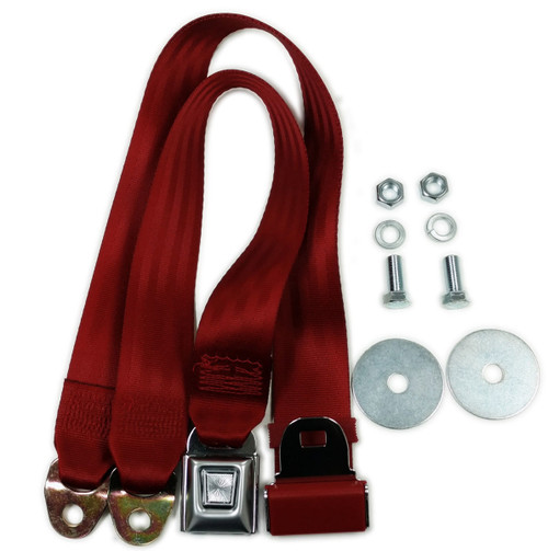 """Red Universal 72"""" Lap Seat Belt w/ Hardware Hot Street Rod Muscle Classic, Pair"""