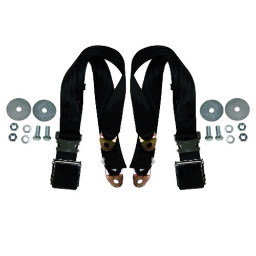 "(2) 72"" Black Universal Lap Seat Belt w/ Hardware, PAIR - Chrome Latch Hot Rod"