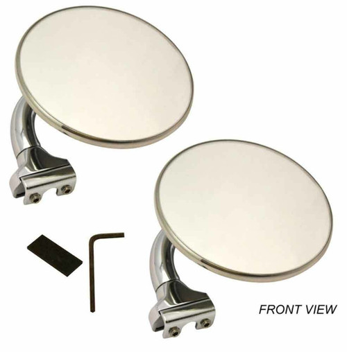 "4"" Universal Peep Mirrors, Stainless Steel, Chrome, Pair"