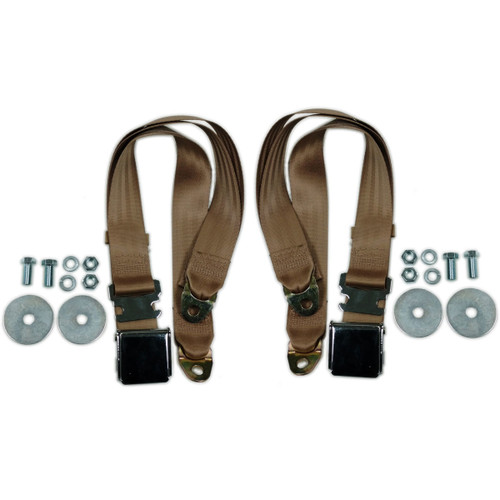 "(2) 72"" TAN Universal Lap Seat Belt w/ Hardware, PAIR Chrome Latch Hot Rod"