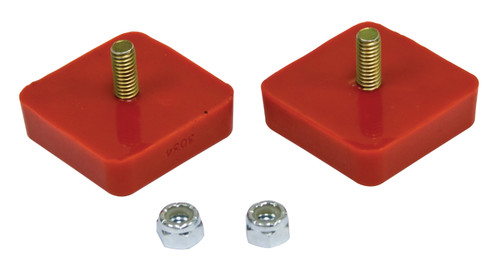 """Bump Stop, 5/8"""" x 2"""" x 2"""" Square w/ Center Stud, Pair, Red"""