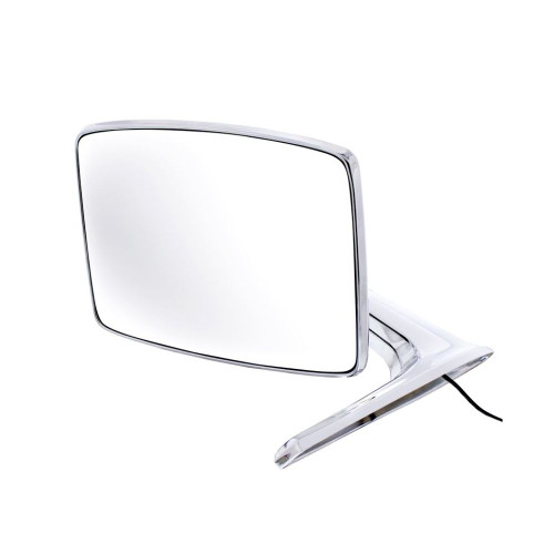 Chrome Exterior Mirror w/ LED, Left/Driver Side, Fits Ford 1966-77 Bronco, Truck