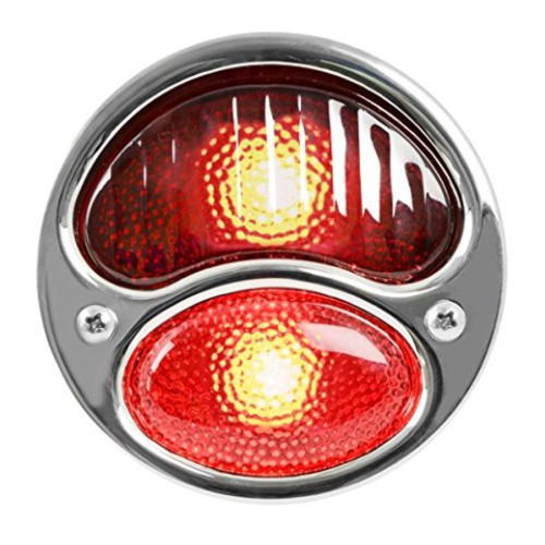 KNS Accessories KA0019 6V Stainless Steel Duolamp Tail Light for Ford Model A with Red Glass Lens and License Light