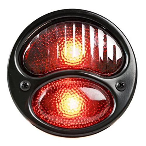KNS Accessories KA0023 Black 12V Duolamp Tail Light for Ford Model A with Red Glass Lens and License Light