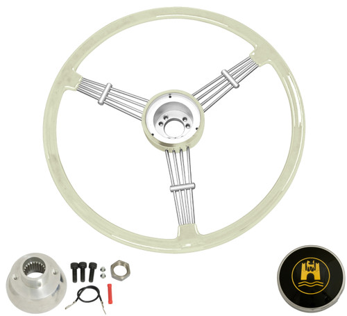 """""""Banjo"""" Style, Silver/Grey Vintage Steering Wheel Kit w/ Boss 3-Bolt 24 Spline Mount Kit, Fits Type 1 & Ghia 49-59"""
