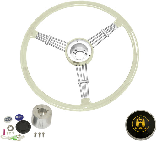 """Banjo"" Style, Silver/Grey Vintage Steering Wheel Kit w/ Boss 3-Bolt 40 Spline Mount Kit, Fits Type 1/Ghia 60-74 1/2, Type 3 61-71"