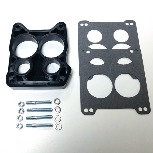 "1"" Phenolic Carburetor Spacer, Quadrajet 4-BBL Hole Ported w/ Gaskets & Hardware"