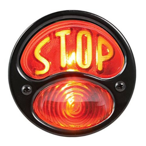 "KNS Accessories KA0021 Black 12V Duolamp Tail Light for Ford Model A with Amber ""STOP"" Script on Red Glass Lens and License Light"