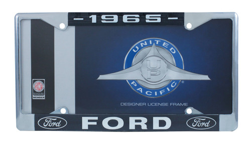 1965 Ford License Plate Frame Chrome Finish with Blue and White Script