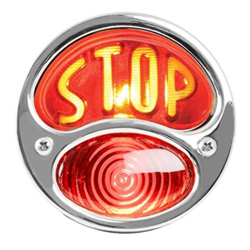 "KNS Accessories KA0036 12V Stainless Steel Duolamp Tail Light for Ford Model A with Amber ""STOP"" Script on Red Glass Lens and License Light"