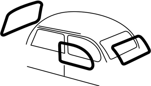 EMPI VW BUG BEETLE CAL LOOK WINDOW RUBBER KIT BY EMPI 73-77 S/B 4-PIECE SET#3589