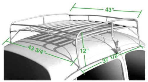 EMPI VW Type 1 Bug Knock Down Classic Roof Rack w/ Silver Coated Frame - 15-2012