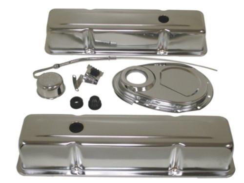 1958-86 Chevy Small Block 283-305-327-350 Steel (Tall) Engine Dress Up Kit - Chrome