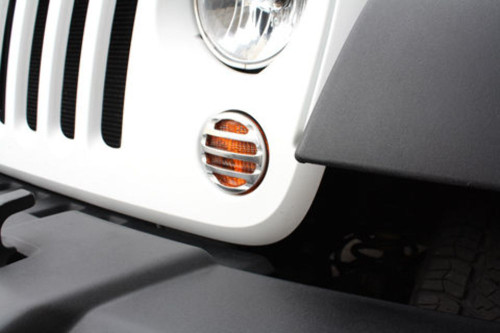Chrome Billet Front Marker Light Surrounds, Pr, Compatible with Jeep Wrangler JK  2007-15
