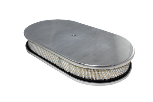 """15"""" Smooth Polished Aluminum Oval Air Cleaner w/ Filter Chevy Ford V8"""