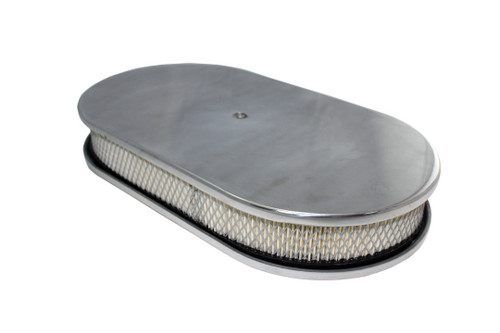 "15"" Smooth Polished Aluminum Oval Air Cleaner w/ Filter Chevy Ford V8"