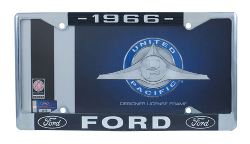 1966 Ford License Plate Frame Chrome Finish with Blue and White Script