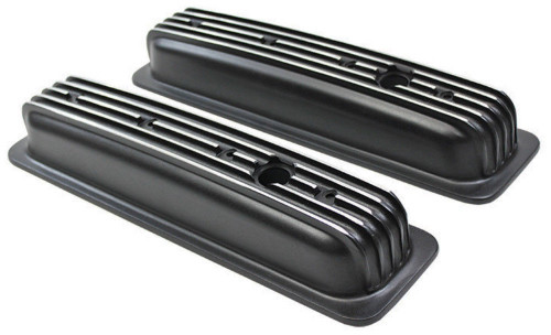 1987-99 SBC Chevy Black Aluminum Finned Valve Covers with Hole Short 305-350