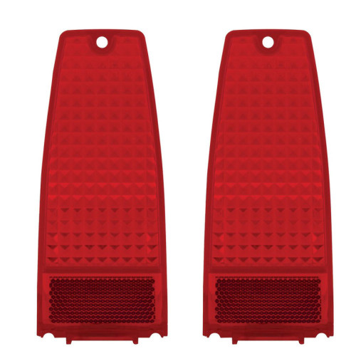 (2) Tail Light Lens, Pair - Red - Compatible with  Chevy NOVA 1966-1967