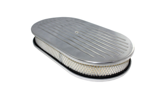 """15"""" Ball Milled Polished Aluminum Oval Air Cleaner w/ Filter Chevy Ford V8"""