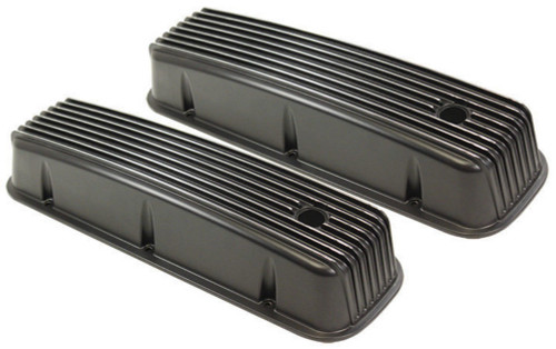 1965-95 BBC Chevy Black Aluminum Finned Valve Covers with Hole Tall 396-502